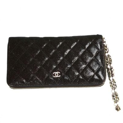 Chanel black leather quilted zip around wallet,