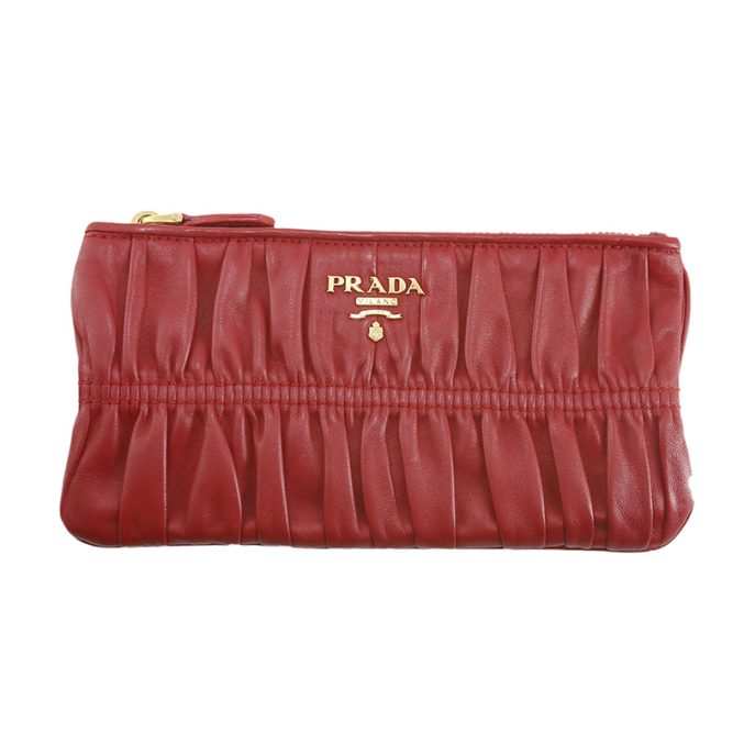 Beautiful-nappa-waffle-red-leather-Prada-zipped-pochette-with-gold-hardware-1