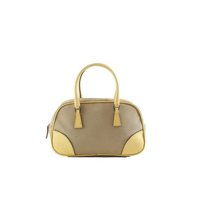 PRADA-Canvas-and–Leather-Beige-and-Yellow-Handbag,-1